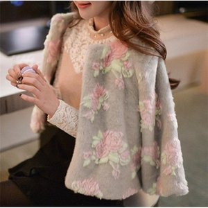 Women's Short Section Flower Printing Winter Autumn Spring Small Jackets Female Large Size Fashion Man-Made Fur Coats S37 200921