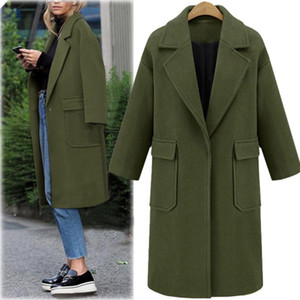 Womens inverno lapela casaco de lã Trench Jacket Longo Sobretudo Exteriores Mulheres de Slim lã Cardigan Jacket 9.26Y elegante Mistura