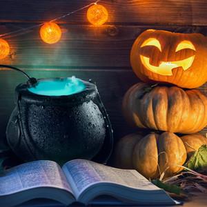 Fog Machine illuminazione Cambiare colore di Halloween lampada atomizzatore popolare modello puntelli strega pentola fiamma nera disposizione atmosfera scena bacino di orrore