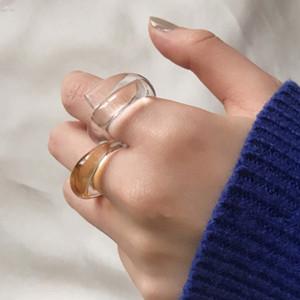 Corea manera de los anillos de acrílico transparente Twisted anillos de banda de diseño de joyería de las mujeres de verano colorido dedo resina de la vendimia del partido del anillo de regalos