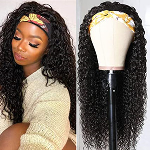 Glueless Water Wave Headband Perücken Brasilianer Nicht Spitze Schal Perücke Remy Human Hair Perücken Für Frauen Anfängerfreundlich 150% Dichte