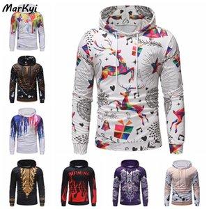 MarKyi 2020 otoño moda Harajuku Impresión digital Hombres con capucha de Hip Hop más el tamaño de la sudadera con capucha suéter con capucha