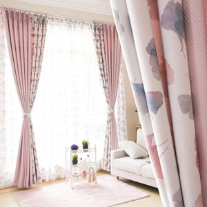 *Custom curtains high quality splice pastoral luxury cotton printing pink jacquard cloth blackout curtain tulle drapes M630