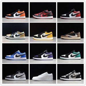 Nike air jordan retro 1 low cut Space jam AJ 1 Basketball Sneaker Dark Mocha Atmosphere NYC Shadow Yellow Court Purple Shoes