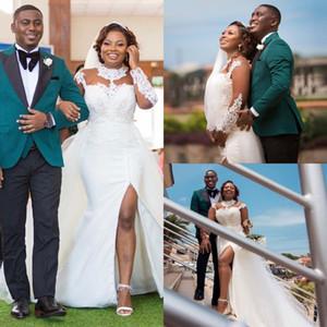 Elegant Black Girls Wedding Dresses Plus Size Long Sleeve Overskirt Mermaid Bridal Gowns Side Slit Lace Wedding Dress robes de mariée