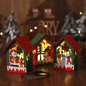 교수형 밧줄 메리 크리스마스 LED 크리스마스 DIY 조립 오두막 나무 DIY 조명 오두막은 목조 주택을 점등