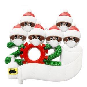 Cuarentena ornamentos personalizados superviviente de la familia de 2 3 4 5 6 7 Mascarillas mano Sanitized personalizada de Navidad Decoración de PVC