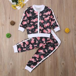 İmcute 2-7T Çocuk Kız imcute Fermuar Kapatma Çiçek Eşofman tulum Dış Giyim Kazak Sweatshirt Ceket Uzun Pantolon Kıyafetler X0923