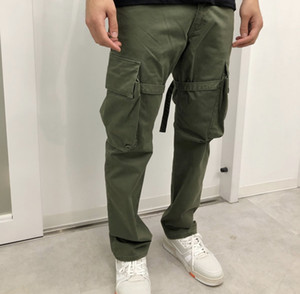 Army Green Mens Pants VUJADE CARGO PANTS ruban de poche Salopette Pantalon droit Casual Mode Fitness High Street