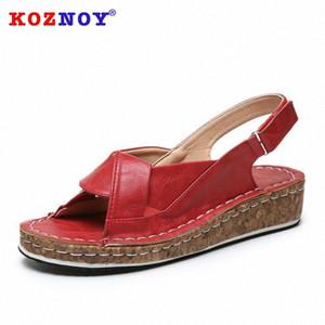 Koznoy Женщины летние сандалии 2020 Мода Назад ремень клинья Dropshipping Cross Связали дышащий Hook Loop Женщины Причинная сандалии Клин Sho BONU #