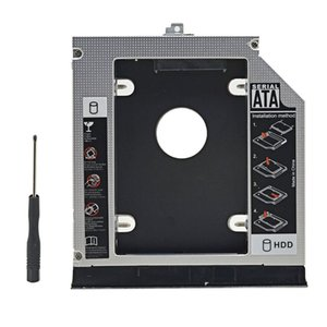 "Universal Aluminum 2nd HDD Caddy 12.7mm SATA III for 2.5"" 12.5mm 9.5mm 9mm 7mm SSD Case Enclosure + Dual LED Laptop ODD"