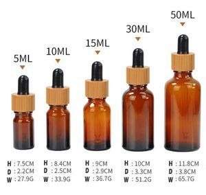 New 5ml 10ml 15ml 20ml 30ml 50ml Ölflasche mit Bambus-Essenz in Clear Bernstein Glas 1000pcs wholesale freies Verschiffen