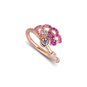 CKK Rose Ring Pink Fan Bagues de femmes Hommes Anillos Mujer 925 argent sterling 925 bijoux mariage Aneis hombre