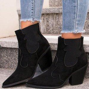 Çizmeler sarairis akın moda kadınlar rahat günlük sonbahar bayanlar retro sivri burun yüksek topuklu ayak bileği ayakkabı üzerinde kayma