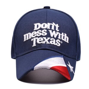 Não suje com Texas Hat EUA Texas State Baseball Flag Caps Carta Bordado Outdoor Visor Bill Unisex Cap HHA1588