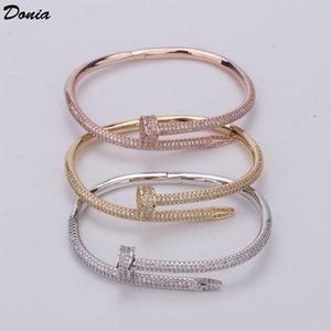 Donia jewelry Oume nail bracelet tri-color electroplating exaggerated luxury micro inlaid zircon bracelet fashion personality bracelet