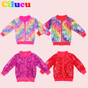 Toddlers Christmas Jacket for Girls Sequin Bomber Rose Gold Coat Kid Autumn Birthday Party Outwear Coat Zipper Round neck Jacket