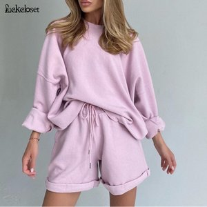 Women's Tracksuits Casual Basic Two Pieces Set Long Sleeve Loose Shirt And Skinny Shorts Streetwear Solid Color Drawstring Matching