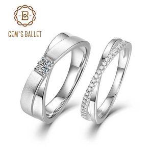 GEM 'S 발레 925 개 스털링 실버 웨딩 밴드 링 여성 남성 쥬얼리 VVS1 모이 사 나이트 약혼 반지 커플 주년