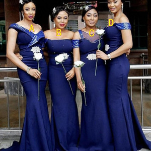 African Royal Blue 4 Styles Mermaid Bridesmaid Dresses Off Shoulder Satin Maid Of Honor Gowns Floor Length Wedding Guest Dress Vestidos