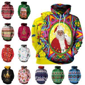 Christmas Hoodies Christmas Tree Santa Clus Printed Long Sleeved Blouse Hooded Sweatshirt T-shirt Casual Long Pullovers Home Clothing