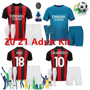 الأولاد الكبار AC ميلان 2020 2021 IBRAHIMOVIC كرة القدم بالقميص مجموعة بياتك باكيتا THEO REBIC قمصان كرة القدم الرجال الاطفال مجموعات الزي الرسمي