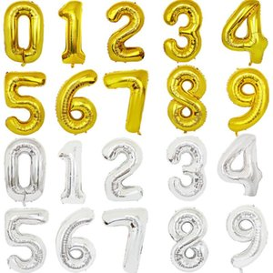 32 inch letter number balloons Foil balloon gold silver letter digital Globos birthday party decoration baby bath supplies OWE1577