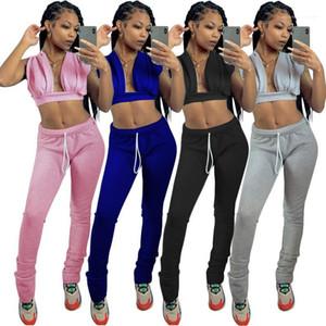 Neck Long Pants Suit Women 2020 Womens Designer Tracksuits Sport Casual Solid Color 2PCS Set Sexy V