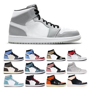 Nike Air Jordan Retro 1 AJ1  2020 Мужские ботинки баскетбола 1S новый высокий ог Obsidian Royal Toe черный белый розовый Rust UNC Tie Dye Чикаго 1 Light кроссовки