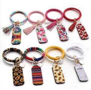 Chapstick Keychain néoprène Rouge à lèvres Porte-PU Bracelet en cuir imprimé Tassel Baume à lèvres Rouge à lèvres Cover Holder Sac 17 Designs OOA9067
