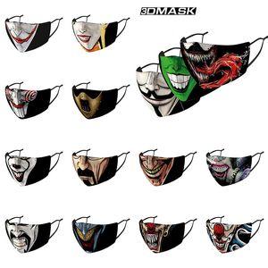 Joker Clown moda gelato maschera nebbia vento polvere e foschia in grado di sostituire il filtro PM2.5 3D di lavaggio stampata maschera