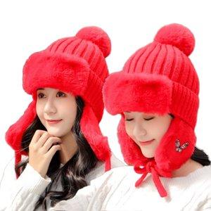 Bomber Chapeau d'hiver Chapeau russe Femme earflaps casquette chaud Thicken Protect Bomber Pour Ear Protection Femmes Bonnet Cap Woollen