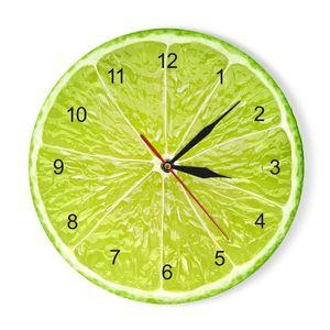 الفواكه البرتقال الاكريليك ساعة الحائط الجير بوميلو الحديثة المطبخ على مدار الساعة ووتش ديكور المنزل الطازجة الفاكهة الاستوائية جدار الفن التحفة الفنية