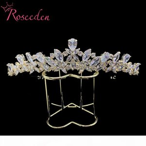Full CZ Tiara Princess Pageant Crown Wedding Hair Jewelry Women Night Party Bridal Hair Accessories RE3456