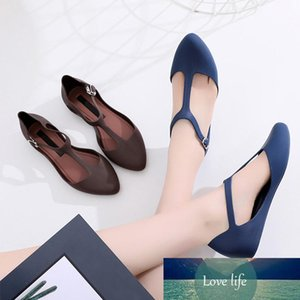 Women Flat Shoes Ballet Flats Jelly Shoes Summer Female T-Strap Point Toe Sandals Shallow Buckle Strap Comfort Ladies Footwear CY200519