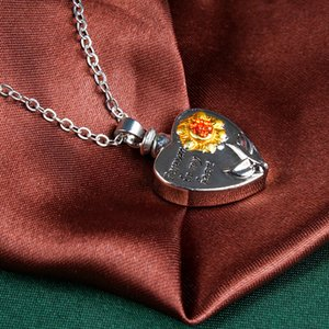 Навсегда в моем сердце Locket Подсолнечное сердца Кремация Мемориал Ashes Urn ожерелье ювелирных изделий Keepsake Подвеска