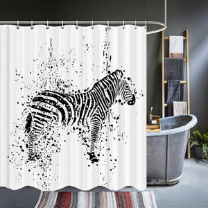 Zebra Animal Black and White Shower Curtains Waterproof Bathroom Bath Curtain 3d Printing With Hooks Washable Polyester Cloth