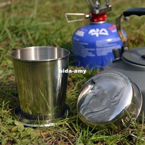 60ml 150ml 250ml SAFE Stainless Steel Camping Folding Cup Traveling Outdoor Mug Portable Collapsible Flask Heavy Metal Free Stainless PdF4#