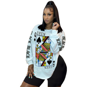 75S136 Ladies Home Set Poker printing two-piece suit Casual sportswear Long sleeve shorts yoga wear Comfortable outfits