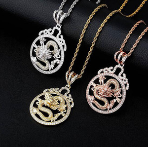 14K cobre plateado Zirconia dragón pendiente redondo de joyería de la cadena de Hip-hop para los hombres con 3mm de 24 pulgadas cadena de la cuerda
