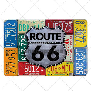 Route Plaque Vintage 20x30cm 66 Tin Bar Retro Plate Decoration Club Sign Wall Poster Metal Garage BUzYp packing2010