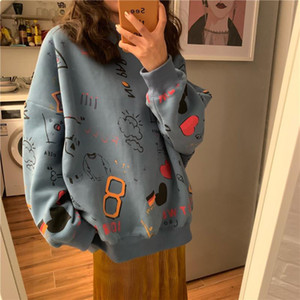 2020 Primavera Womens Roupas Hoodies Teen Street Harajuku Hip Hop Pastel Suéter Para As Mulheres Impressão Hoodie Loja Lazer 11
