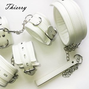 Thierry Luxury soft white Bondage Restraints handcuffs collar wrist ankle cuffs for Fetish erotic adult games couple Sex produc Y200616
