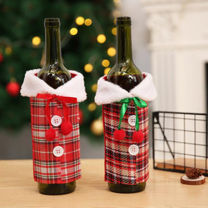 Christmas Wine Bottle Cover with Bow Plaid Linen Bottle Clothes With Fluff Wine Bottle Cover Clothes Fashion Christmas Decoration LSK1307