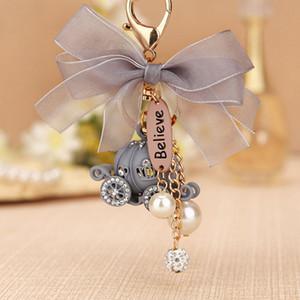 Partido colgante RE lindo regalo cristalino del coche de la calabaza llavero llavero hebilla bolsa bolso de la boda del cumpleaños llaveros Buena J1830 regalo