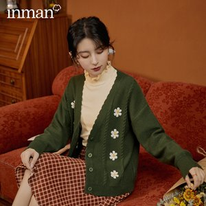 INMAN 2020 Autumn New Arrival Retro Style Literature Yarn Daisy Twist V-neck Knitted Cardigan Sweater