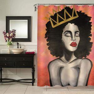 American Queen Africano Afro Shower Curtain Aquarela Mulher preta com Crown Art