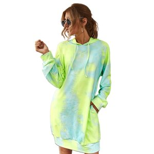 Femmes manches longues à capuche avec cordon de serrage Midi Robe Neon Tie-Dye Imprimé Casual en vrac Pull Tunique Sweat avec poches
