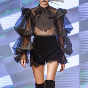 Patchwork Mesh Ruffle Shirt For Women O Neck Puff Sleeve Vintage Chiffon Lace Up Bowknot Blouse Female 2020 Autumn Fashion K962