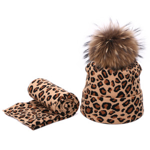 Leopard Print real fur pompom Hat And Scarf Set Winter Double Beanies Skullies Hat For Women Elasticity Warm Scarves Pom Pom